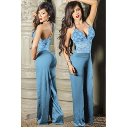 Mono Largo Azul Estilo Halter / Self-tie Wide Leg Jumpsuit